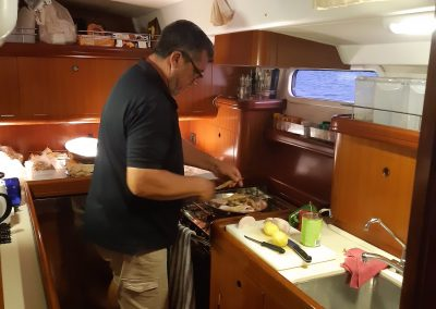 cooking onboard S/Y Spirit
